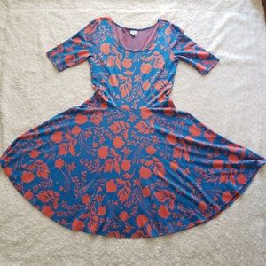 Womens 2XL Lula Roe blue&orange floral print dress